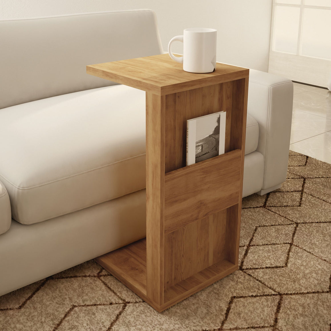 Marine Modern End Table with Magazine Shelf in Nature