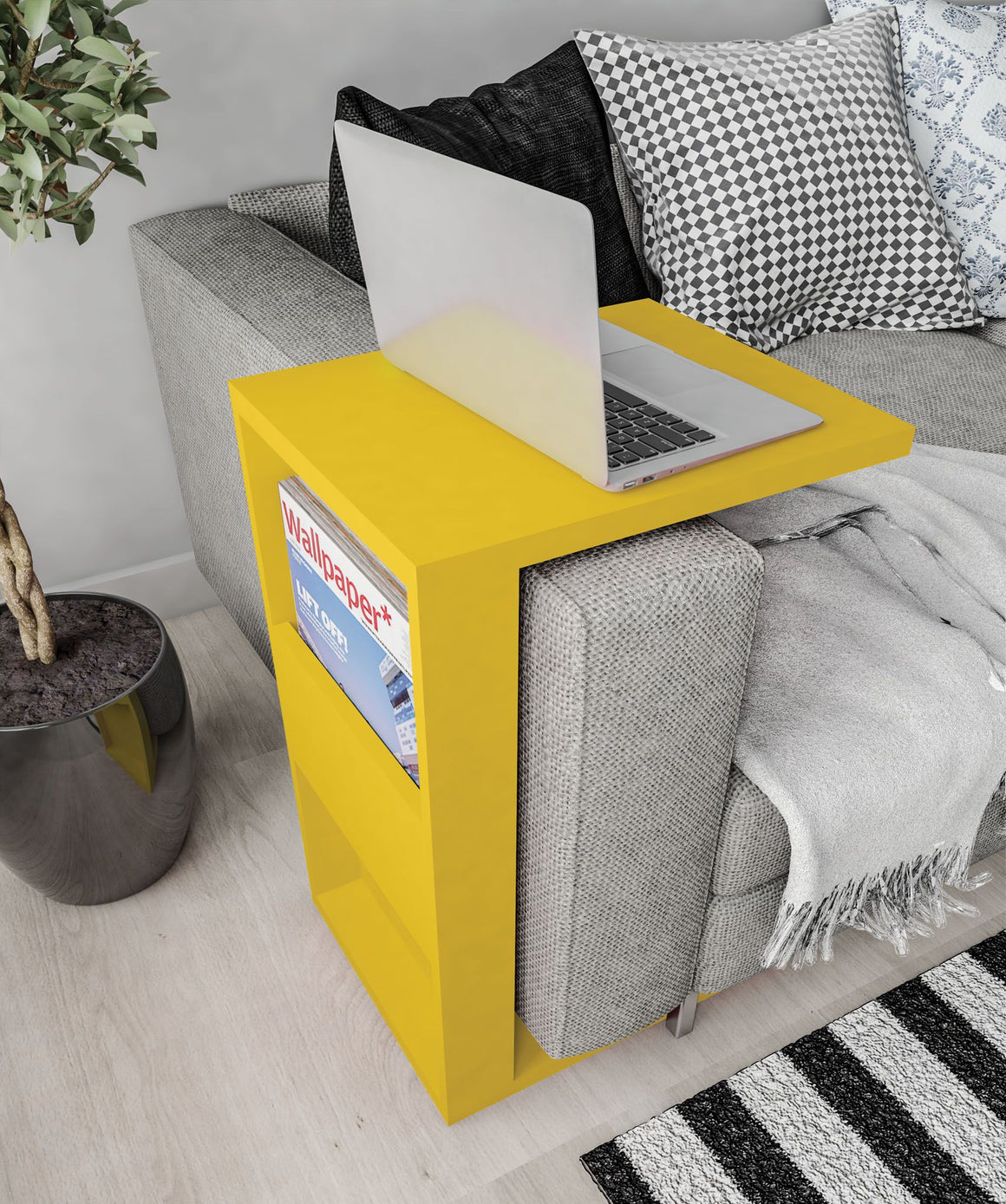 Marine Modern End Table with Magazine Shelf in Yellow