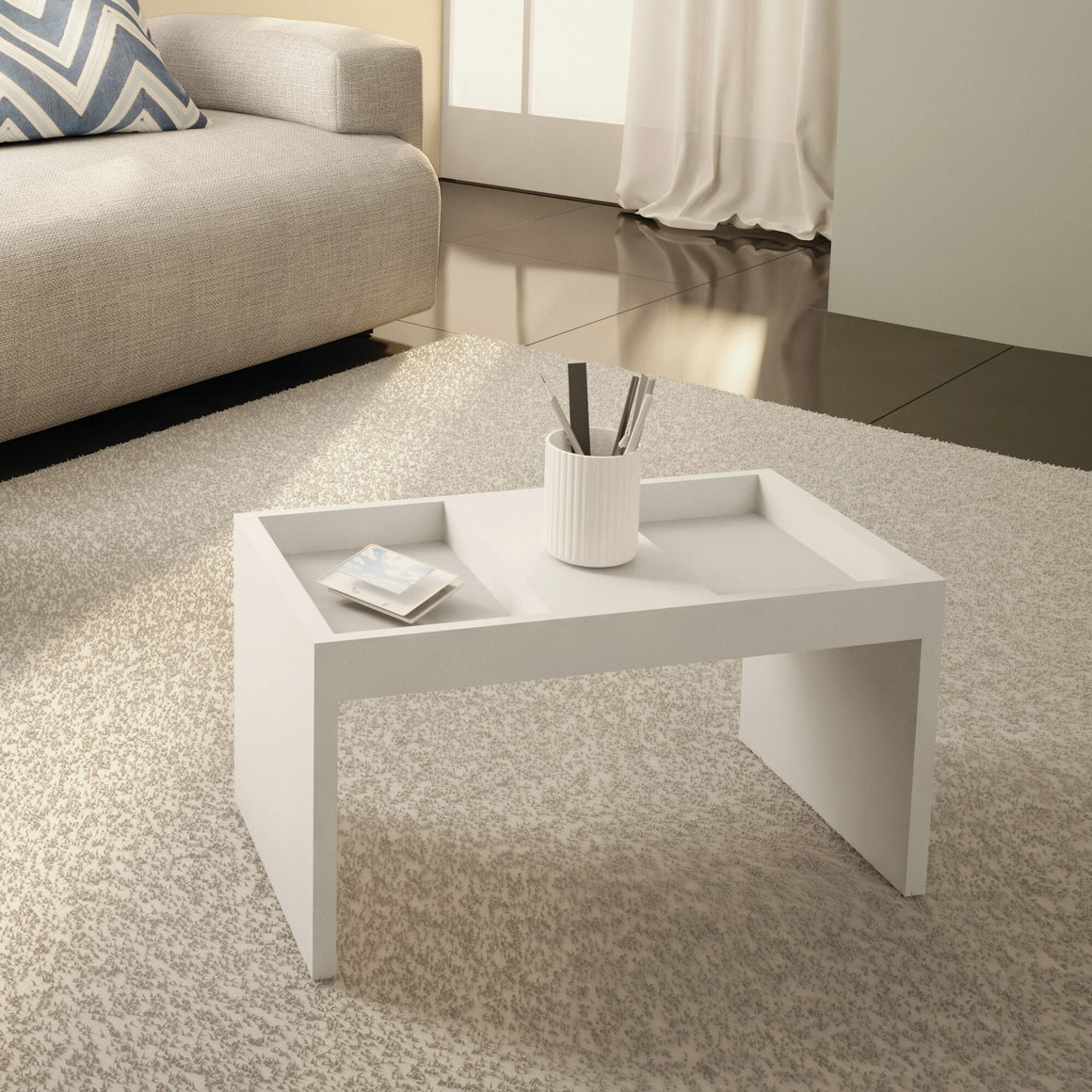 Marine Modern Coffee Table with Magazine Shelf in White