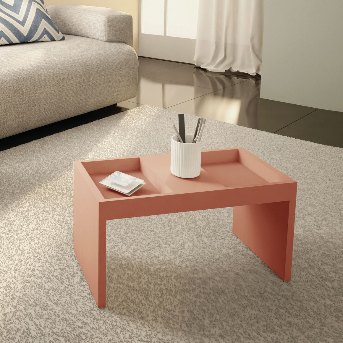 Marine Modern Coffee Table with Magazine Shelf in Ceramic Pink