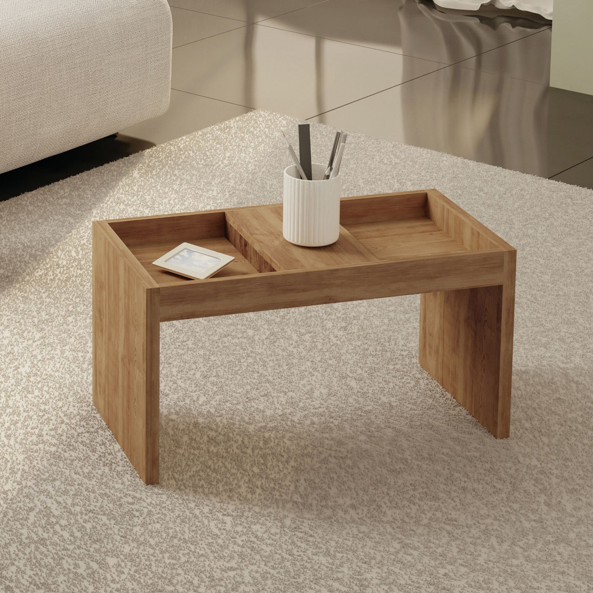 Marine Modern Coffee Table with Magazine Shelf in Nature