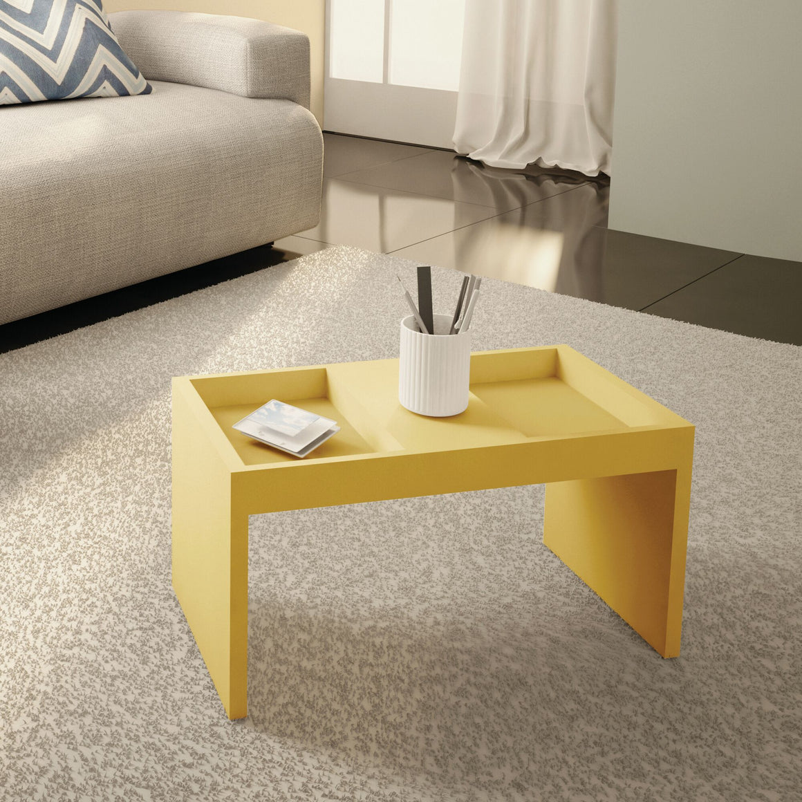 Marine Modern Coffee Table with Magazine Shelf in Yellow