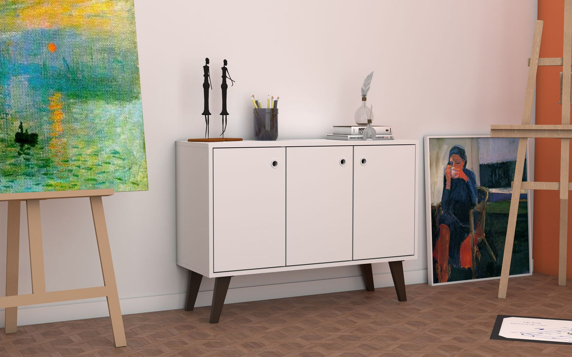 "Mid-Century- Modern Bromma 35.43"" Sideboard 2.0 with 3 Shelves in White"