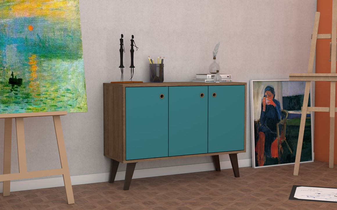 "Mid-Century- Modern Bromma 35.43"" Sideboard 2.0 with 3 Shelves in Oak and Aqua Blue"