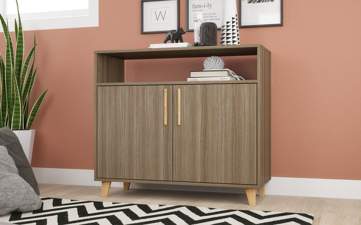 Mid-Century - Modern Herald Sideboard with 3 Shelves in Oak Brown