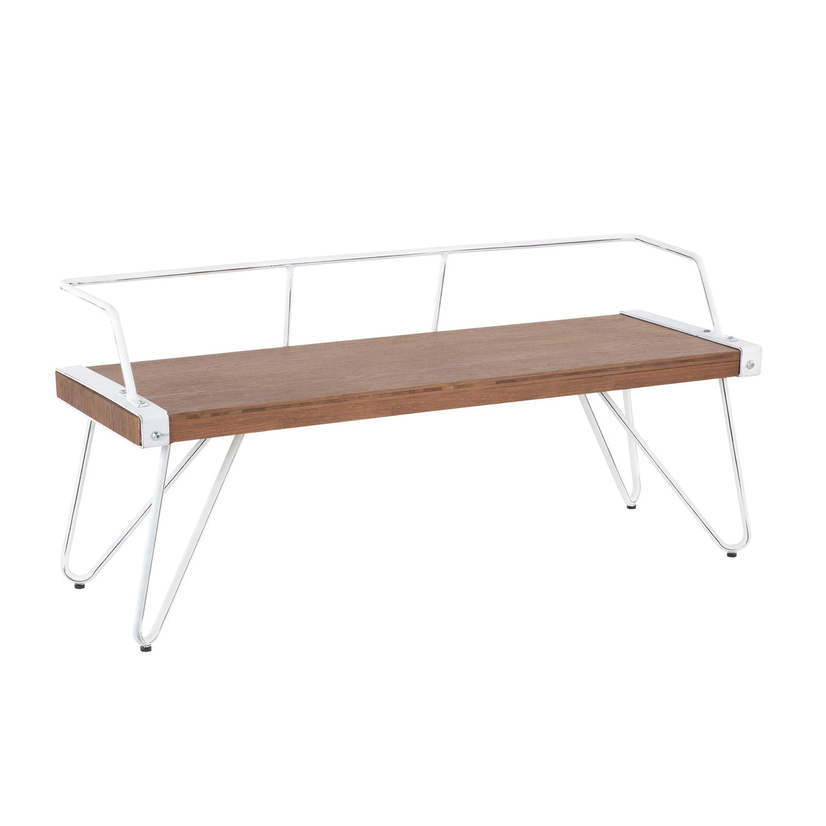 Stefani Industrial Bench in Vintage White Metal and Brown Wood-pressed Grain Bamboo by LumiSource