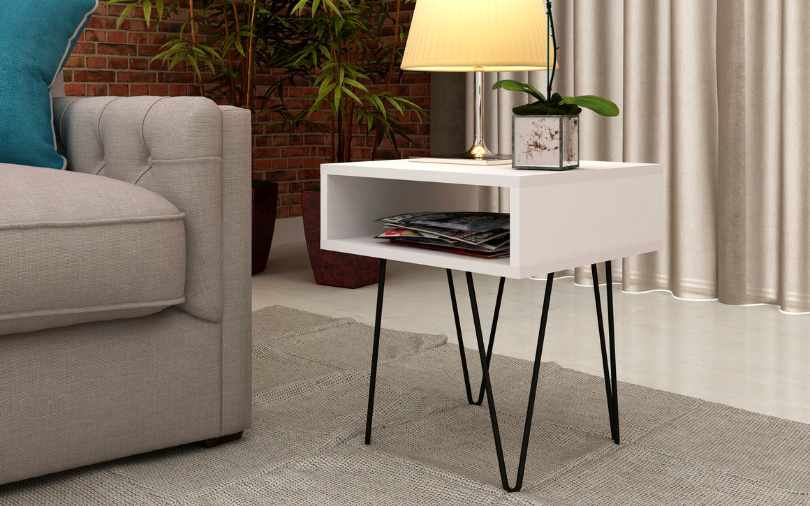 "Mid-Century - Modern Nolita 14.96"" End Table with 1 Cubby in White"