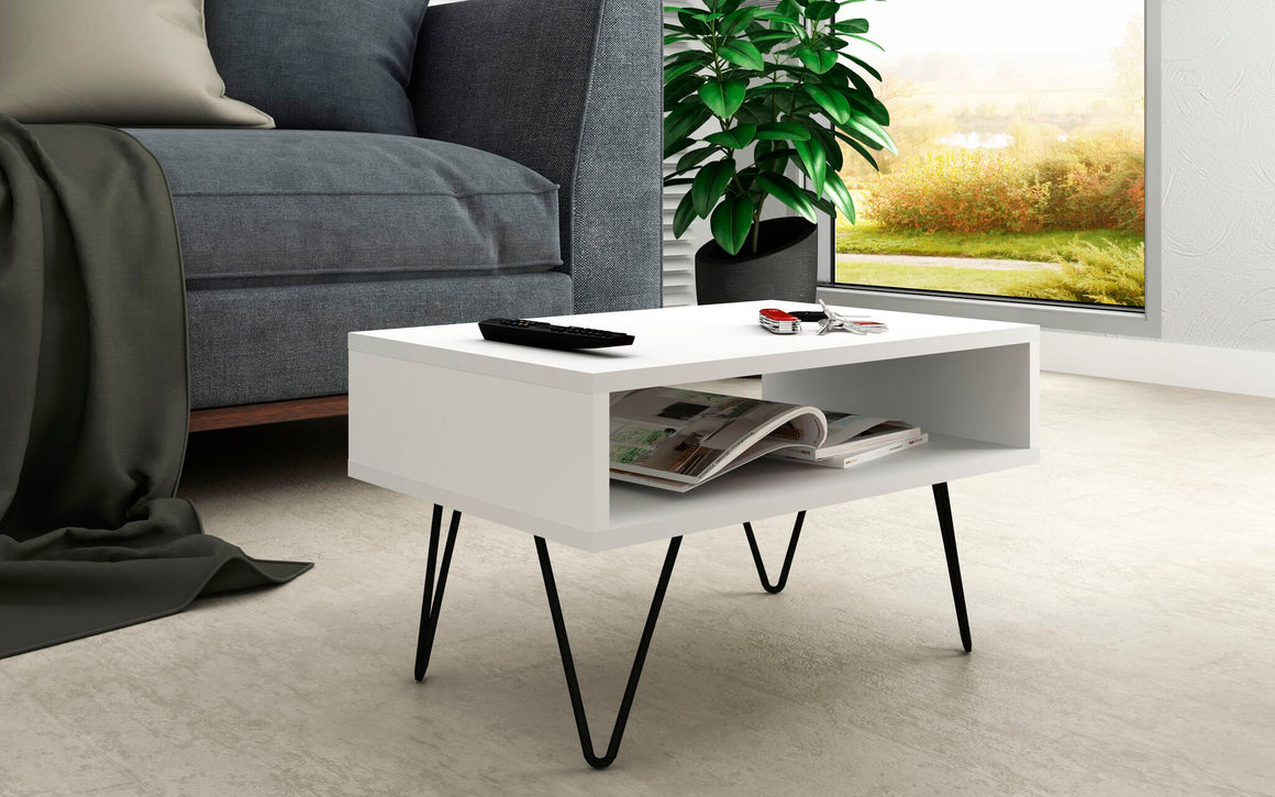"Mid-Century - Modern Nolita 21.06"" Coffee Table with 1 Cubby in White"