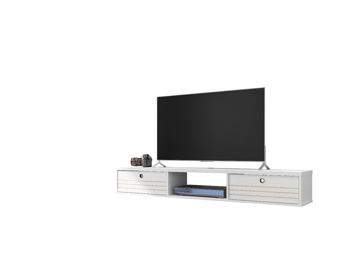 Liberty 62.99 Mid-Century Modern Floating Entertainment Center with 3 Shelves in White