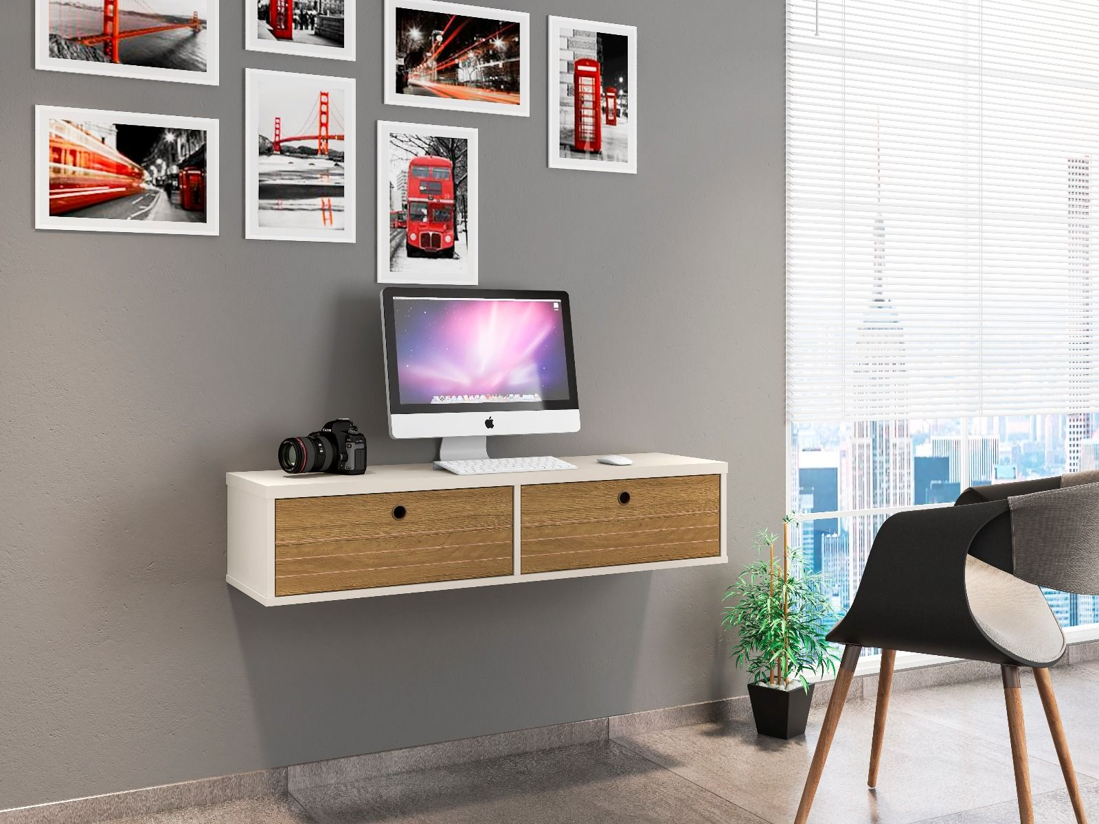 Image of: Liberty 42 28 Mid Century Modern Floating Office Desk With 2 Shelves I Housetie