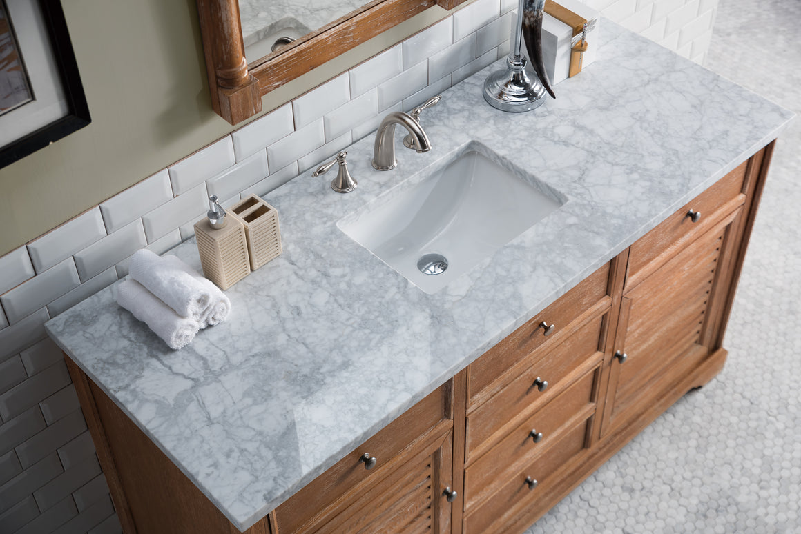 "Savannah 60"" Driftwood Single Vanity with 3 CM Carrara Marble Top"