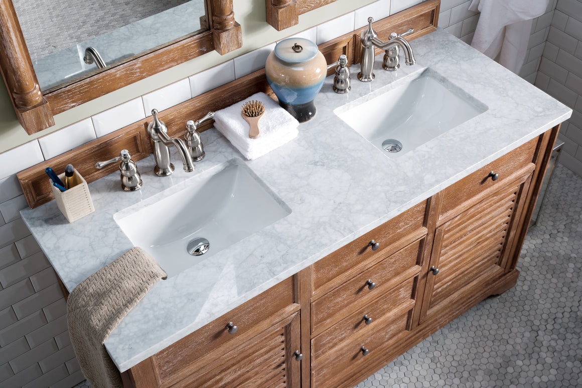 "Savannah 60"" Driftwood Double Vanity with 3 CM Carrara Marble Top"