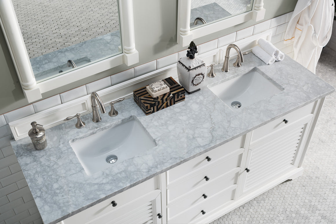 "Savannah 72"" Cottage White Double Vanity with 3 CM Carrara Marble Top"