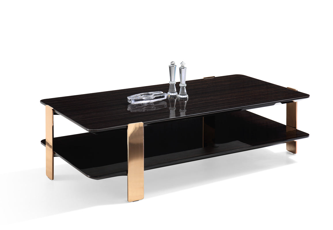 Modrest Leroy Modern Ebony & Rosegold Coffee Table