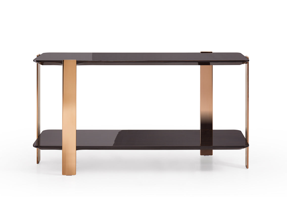 Modrest Leroy Modern Ebony & Rosegold Console Table