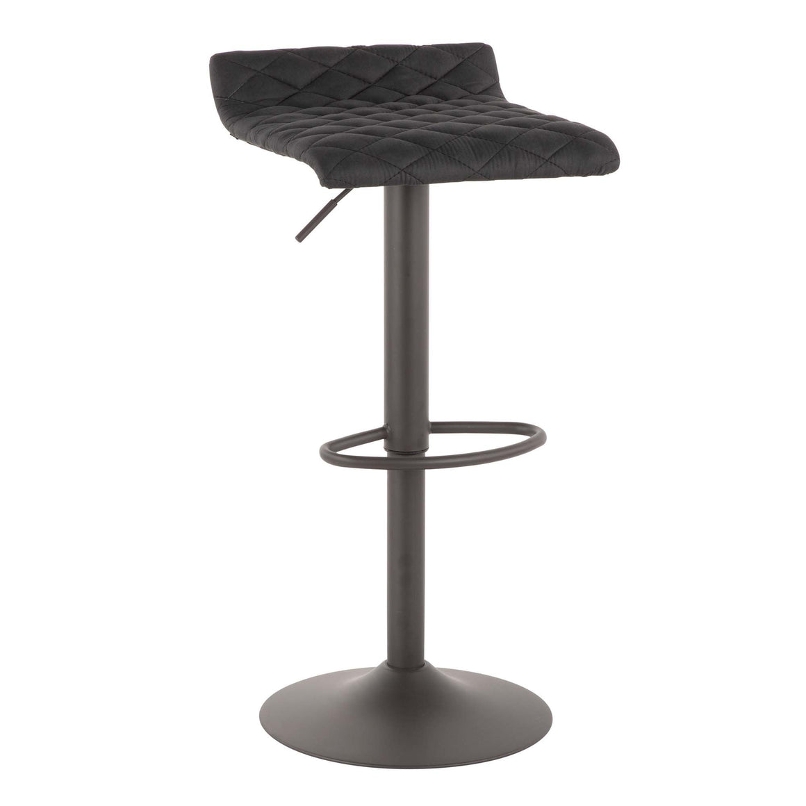 Cavale Industrial Barstool in Matte Grey and Black Cowboy Fabric by LumiSource