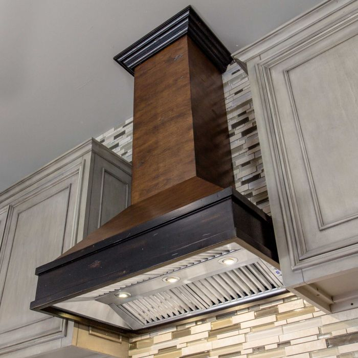 ZLINE 36 in. Wooden Wall Mount Range Hood in Antigua and Hamilton - Includes 1200 CFM Motor