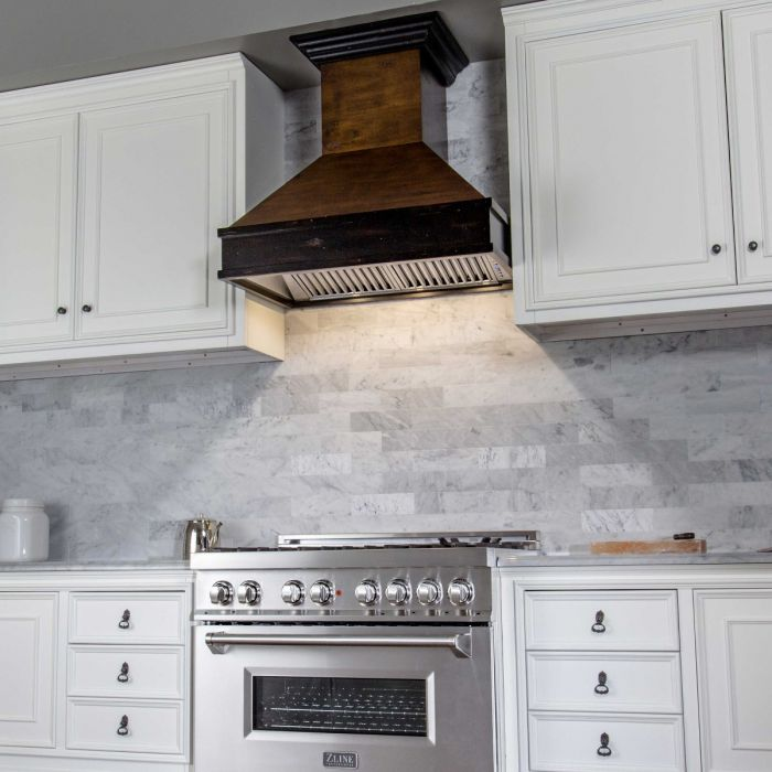 ZLINE 30 in. Wooden Wall Mount Range Hood in Antigua and Hamilton - Includes 900 CFM Motor