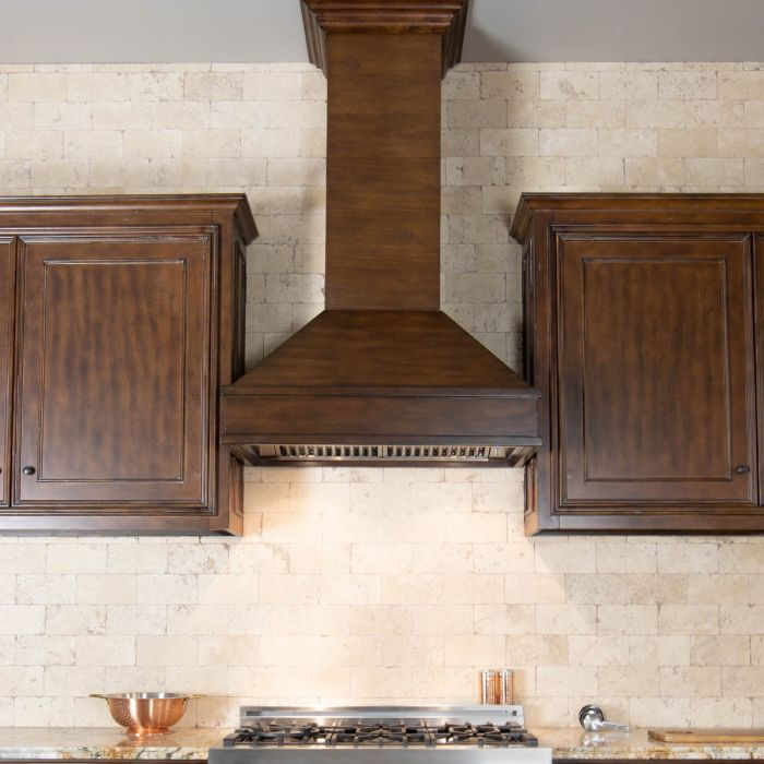 ZLINE 30 in. Wooden Wall Mount Range Hood in Walnut and Hamilton - Includes 900 CFM Motor
