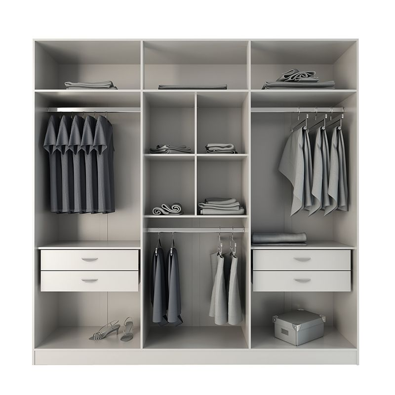 Eldridge 4- Drawer He/She Freestanding Armoire in White Gloss