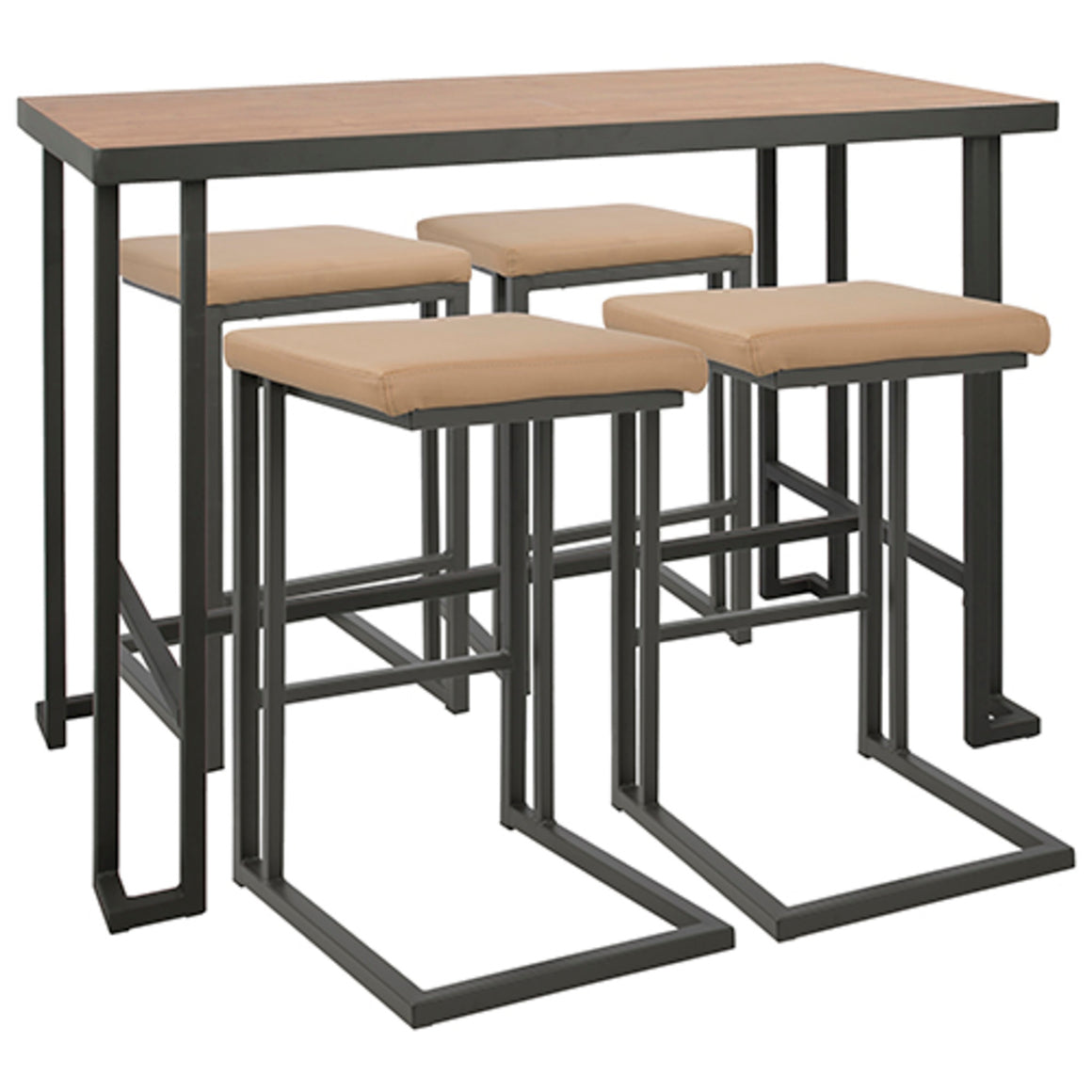 Roman 5-Piece Industrial Counter Height Dining Set in Grey and Camel by LumiSource