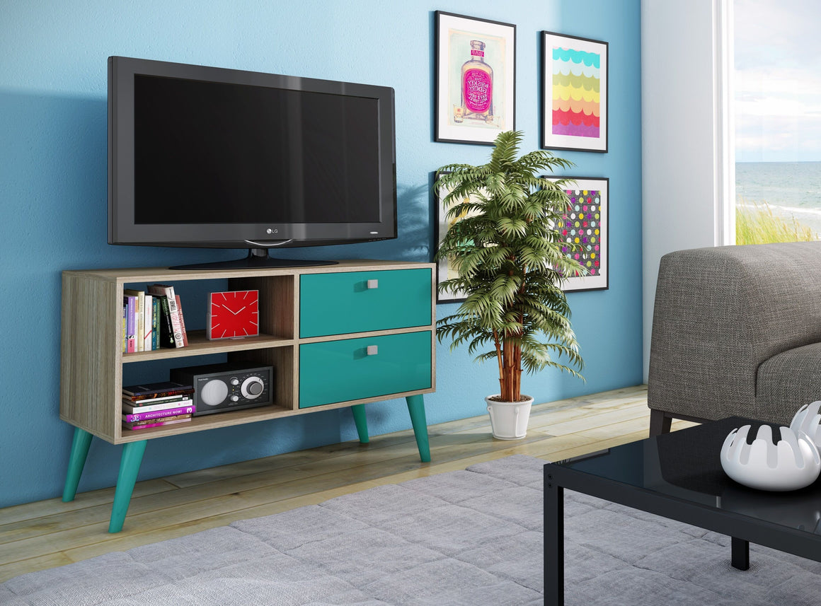 Dalarna TV Stand with 2 shelves in Oak and Aqua