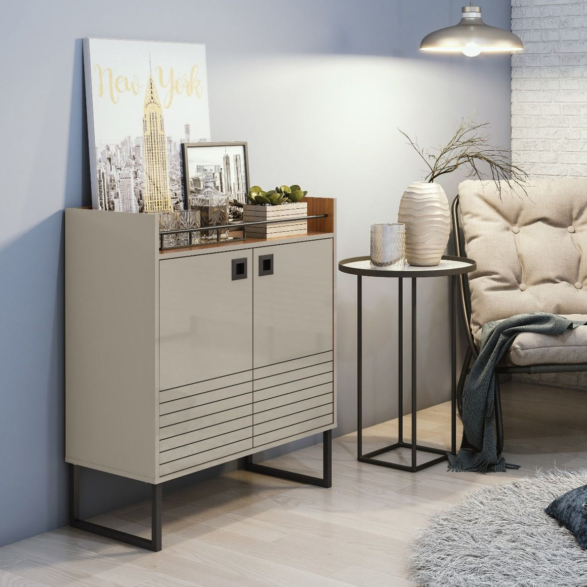 Loft 31.49 Modern Buffet Stand with Safety Display Shelf and Steel Legs in Off White and Wood