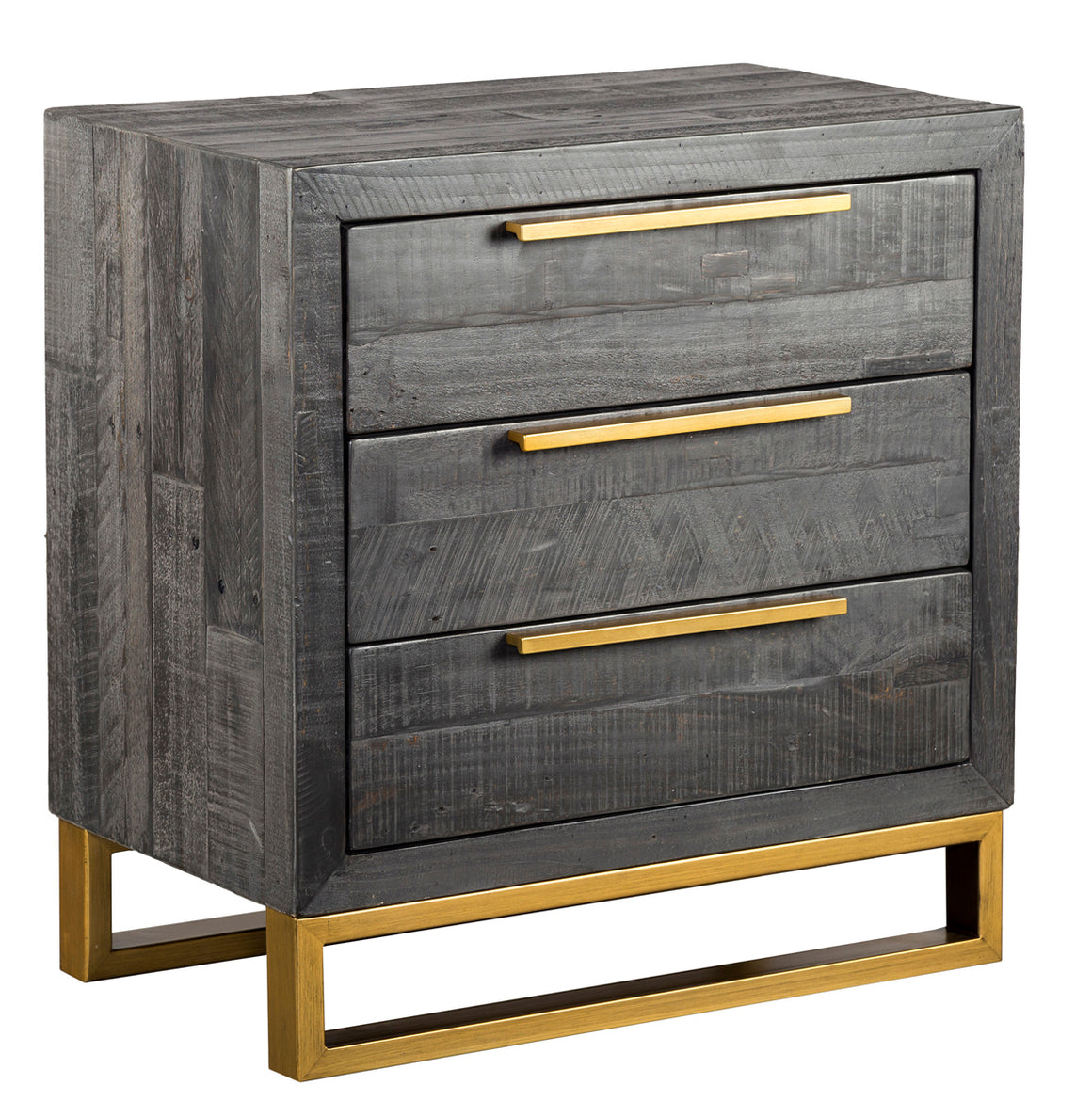 Vogue 3 Drawer Nightstand Black