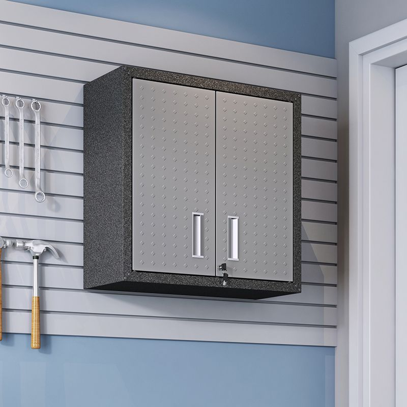 "Fortress 30"" Floating Textured Metal Garage Cabinet with Adjustable Shelves in Grey"