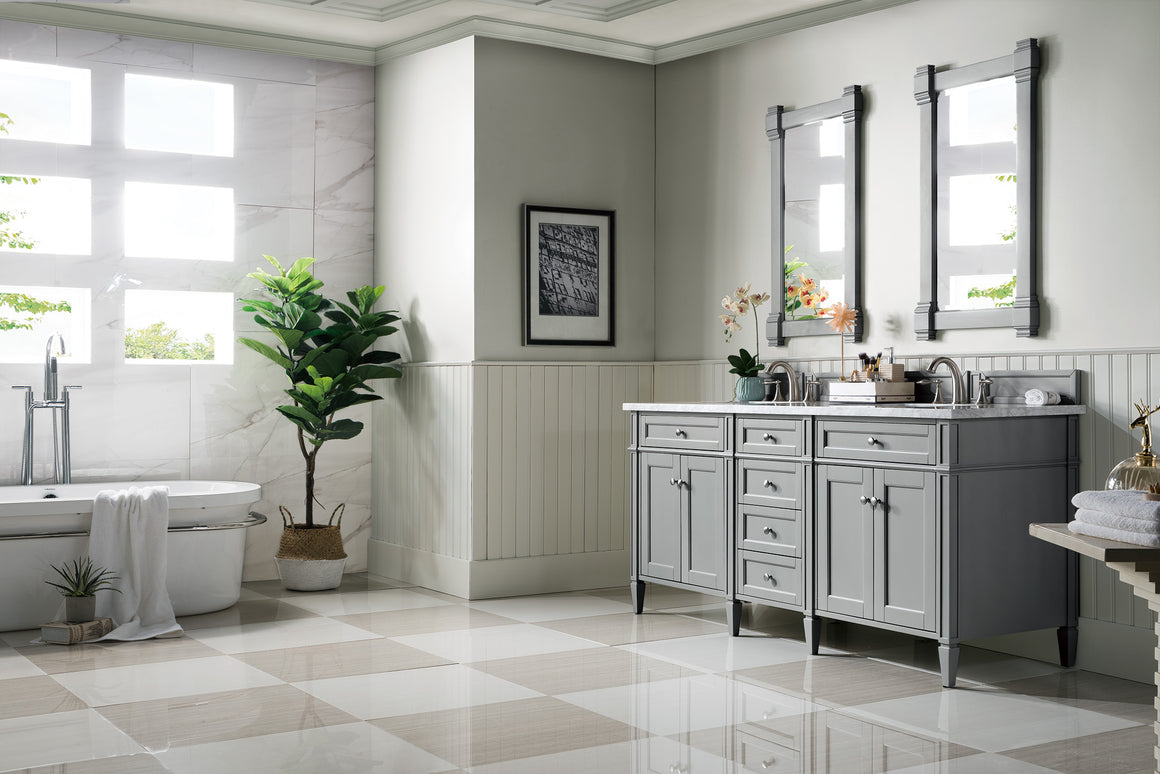 "Brittany 72"" Urban Gray Double Vanity with 3 CM Carrara Marble Top"