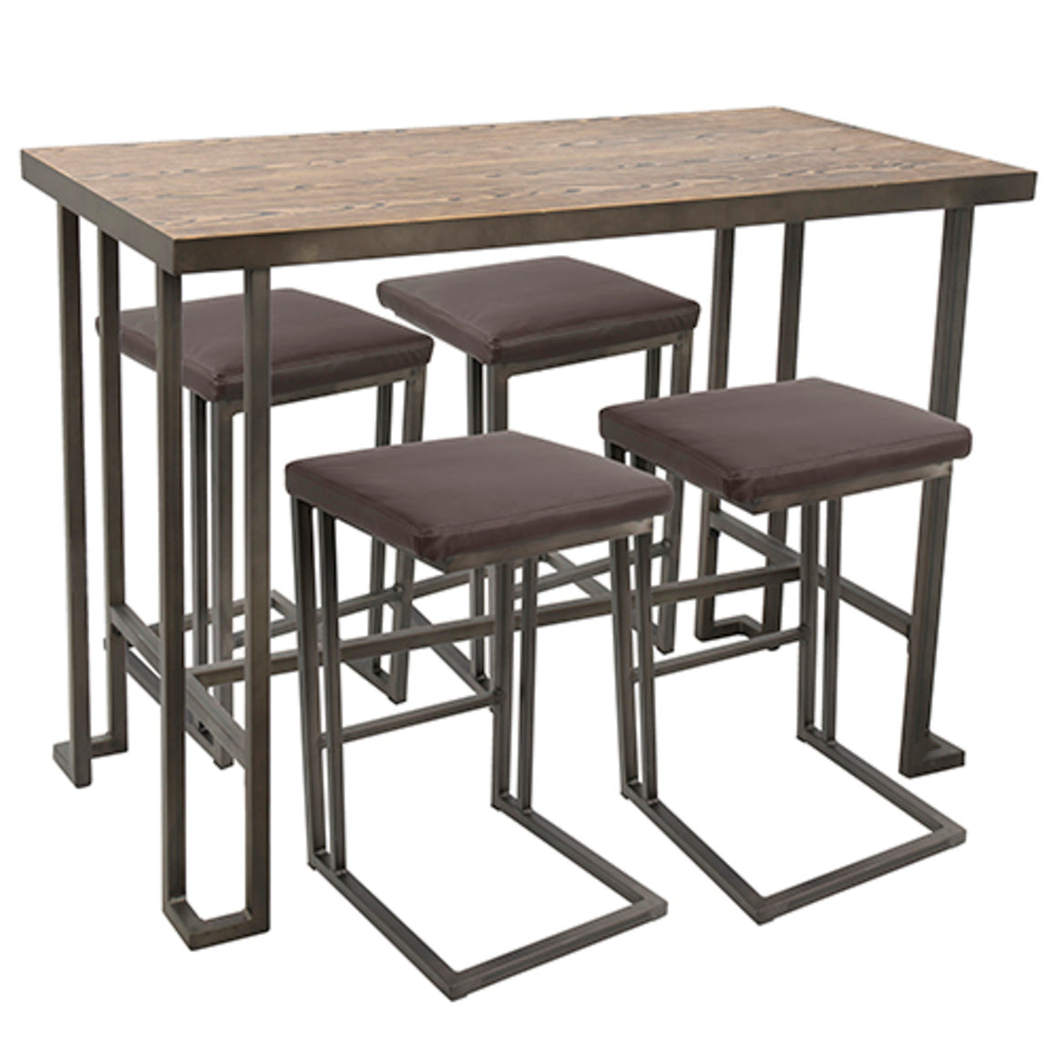 Roman 5-Piece Industrial Counter Height Dining Set in Antique and Brown by LumiSource