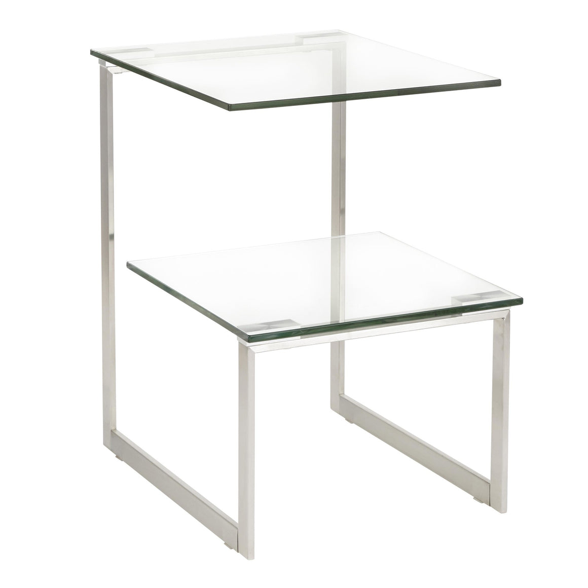 6G Contemporary End Table in Stainless Steel with Clear Glass by LumiSource