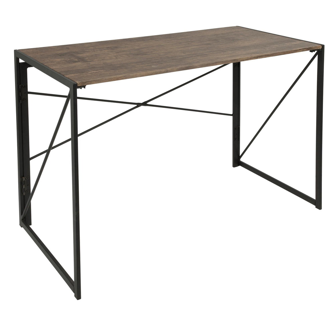 Dakota Industrial Office Desk in Black with Wood Top by LumiSource