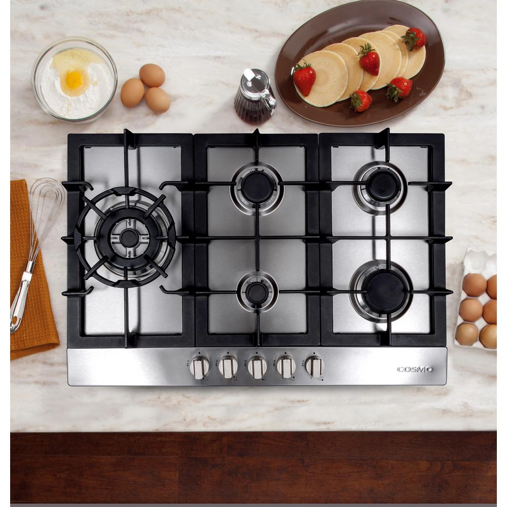 "Cosmo 34"" Gas Cooktop in Stainless Steel with 5 Sealed Brass Burners 950SLTX-E"