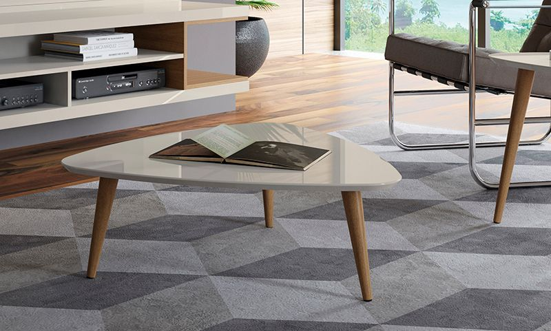 "Utopia 11.81"" High Triangle Coffee Table with Splayed Legs in Off White and Maple Cream"