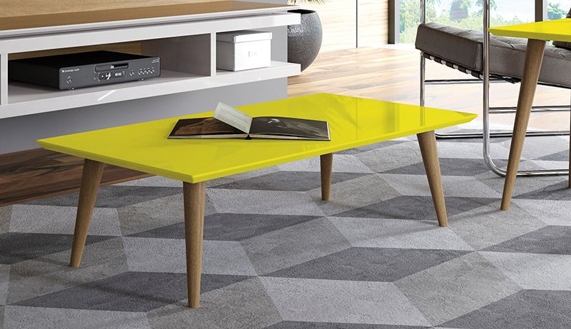 "Utopia 11.81"" High Rectangle Coffee Table with Splayed Legs in Yellow"