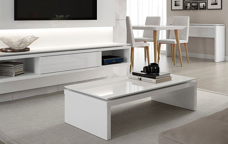Lincoln Rectangle Coffee Table in White Gloss