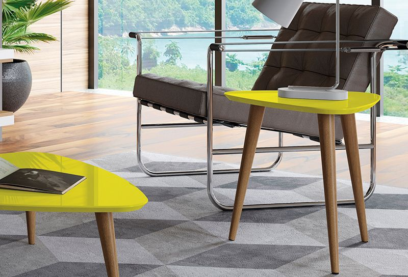 "Utopia 19.68"" High Triangle End Table With Splayed Wooden Legs in Yellow"