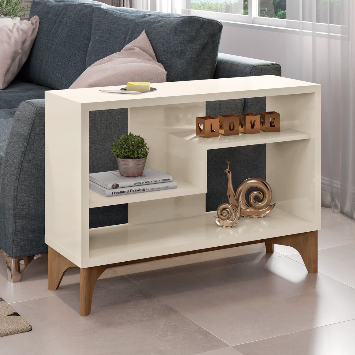 Gowanus Modern Accent Display Sideboard with 2 Shelves in Off White