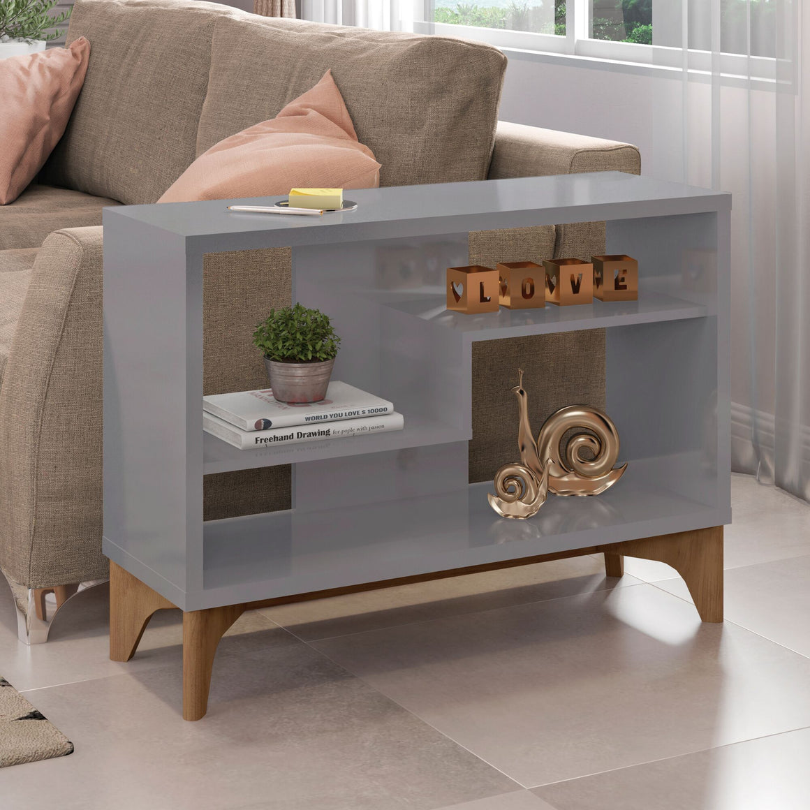 Gowanus Modern Accent Display Sideboard with 2 Shelves in Grey