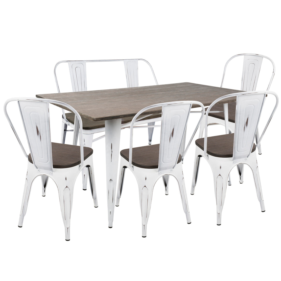 Oregon 6-Piece Industrial-Farmhouse Dining Set in Vintage White and Espresso by LumiSource