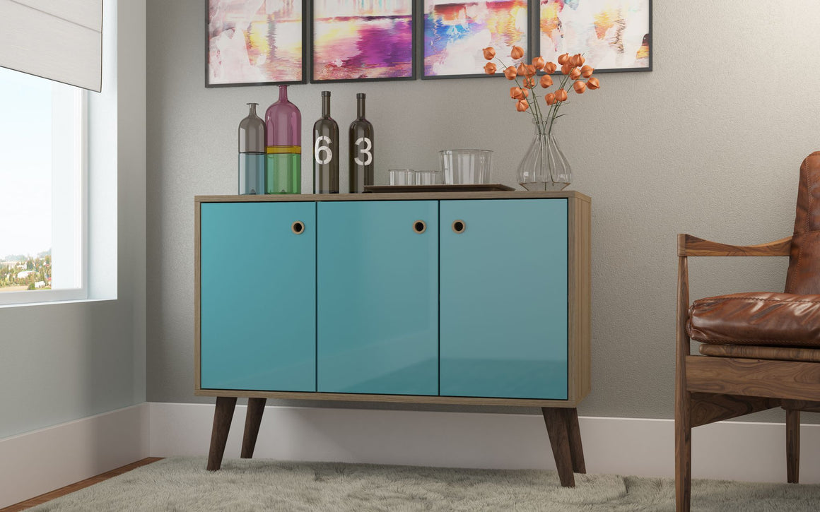"Bromma 35.43"" Buffet Stand with 3 Shelves and 3 Doors in Oak and Aqua"