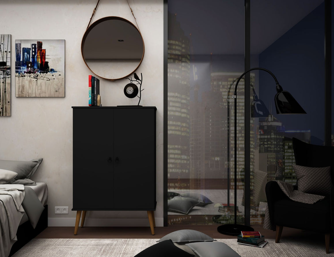 Tribeca Mid-Century-Modern Shoe Closet with Adjustable Shelves in Black