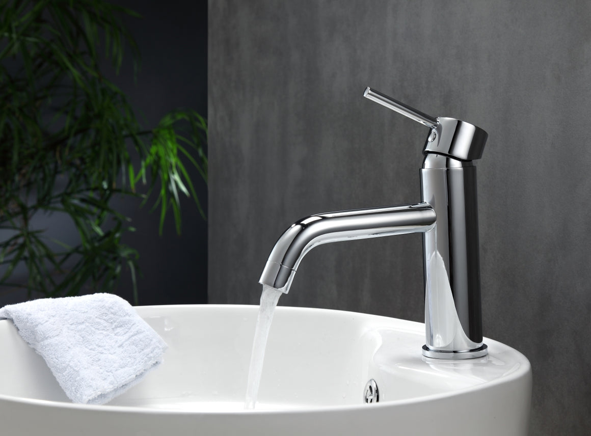 Aqua Rondo Single Hole Mount Bathroom Vanity Faucet - Chrome