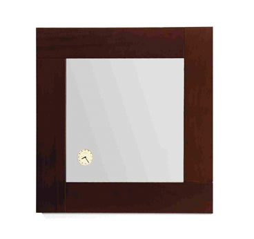 Antonio Miro square mirror with iroko wood frame and built-in clock