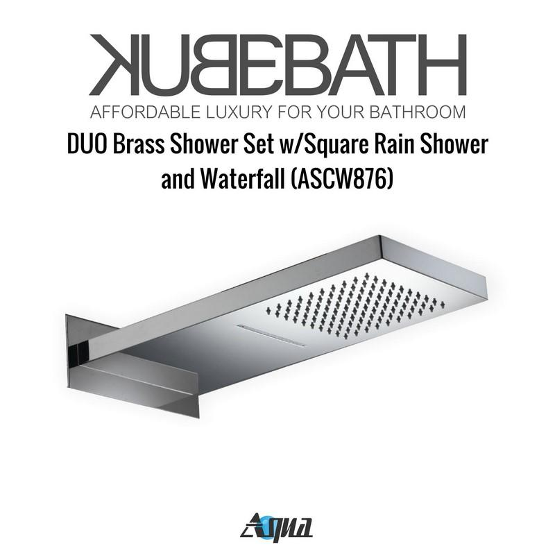 Aqua DUO Brass Shower Set with Square Rain Shower and Waterfall