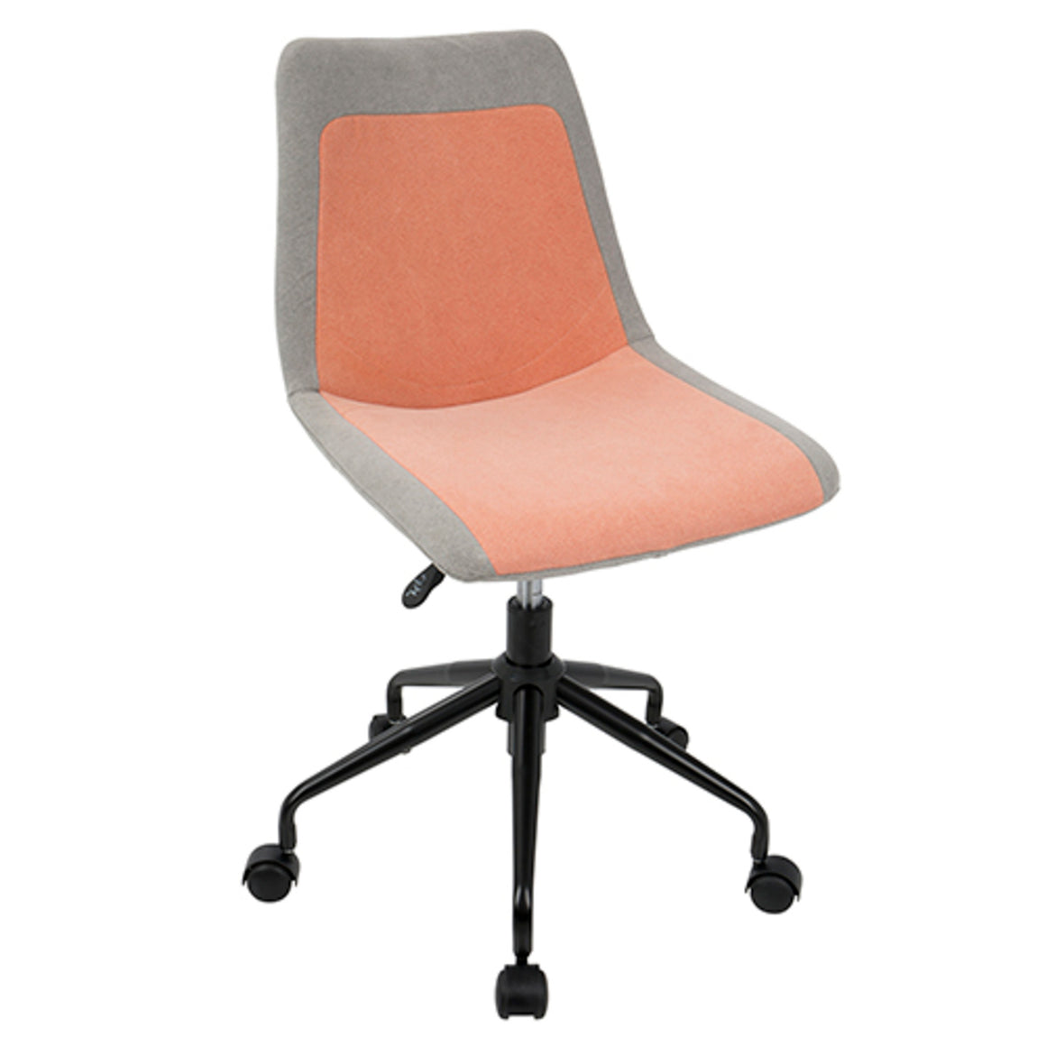Orzo Height Adjustable Task Chair in Black with Orange Denim Fabric by LumiSource