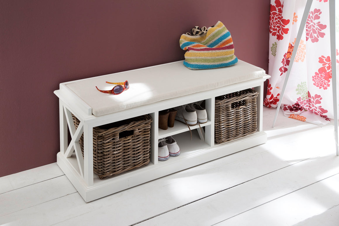 Halifax BE001 Bench and Basket Set With Seat Cushion