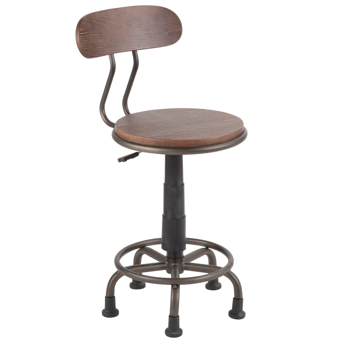 Dakota Industrial Task Chair in Antique Metal and Espresso Wood by LumiSource