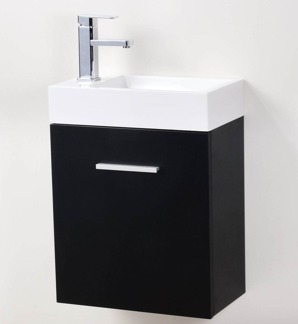 "Bliss 18"" Black Wall Mount Modern Bathroom Vanity"